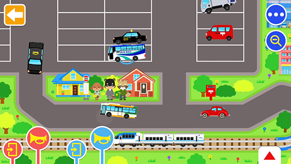 いろいろなマップで乗り物遊びができるアプリ『のりものワールド』に新しく「えきまえロータリーセット」が登場!