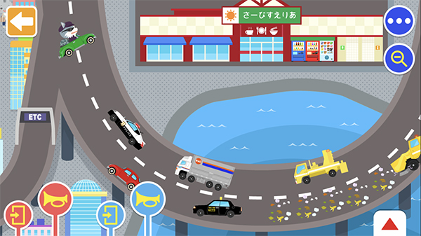 いろいろなマップで乗り物遊びができるアプリ『のりものワールド』に新しく「おでかけ!ハイウェイセット」が登場!